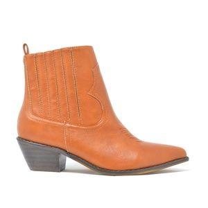 Women's Slip On Cognac Stacked Heel Ankle Bootie